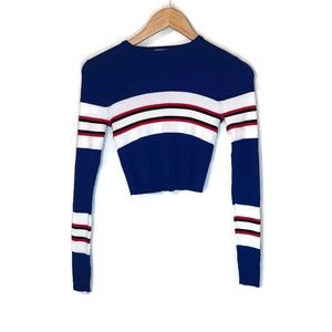 Zara knit retro red white blue striped crop top 🌸